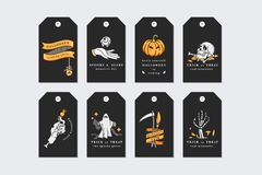 Vector illustration set of linear icons for Happy Halloween. Happy Halloween gift tags on black background. stock illustration