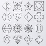 Vector illustration of a set of linear jewels Royalty Free Stock Images
