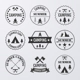 Vector illustration set of logos on the theme of camping.  Royalty Free Stock Photos