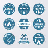Vector illustration set of logos on the theme of camping Stock Images