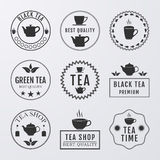 Vector illustration set of logos on the theme of tea Royalty Free Stock Photography