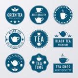 Vector illustration set of logos on the theme of tea Stock Image
