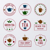 Vector illustration set of logos on the theme of tea Stock Photo