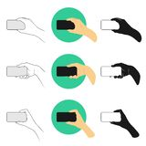 Vector illustration set man holding smartphone with the right hand horizontally for watching video. Outline, silhouette and color version vector illustration
