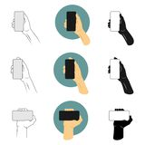 Vector illustration set man holding smartphone with the right hand to making selfie. Outline, silhouette and color version stock illustration