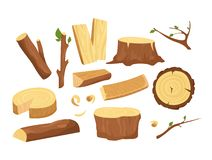 Vector illustration set of materials for wood industry. Collection of tree logs, planks, stump, twigs and trunks in royalty free illustration