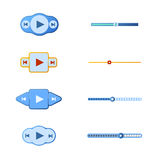Vector illustration set of media player buttons and timelines. Stock Images