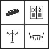 Vector Illustration Set Medical Icons. Elements of Bread, Menu, Candlestick lamp and Table with chairs icon. On white background stock illustration