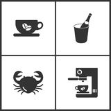 Vector Illustration Set Medical Icons. Elements of Cup, Bottle of champagne, Crab vector and Coffee maker icon vector illustration