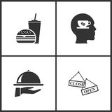 Vector Illustration Set Medical Icons. Elements of Fast Food, Cup of coffee, Tray on the hand and Open Close banner icon royalty free illustration