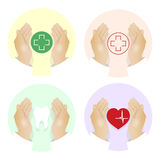Vector illustration set of medical icons with hands on white background. Royalty Free Stock Photo