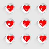 Vector illustration of set of medical icons, heart hospital Royalty Free Stock Photos
