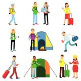 Vector illustration set of men and women tourists in action. Travelers with luggage, camping recreation, family Stock Image