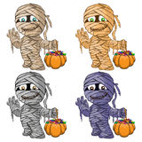 Vector illustration of a set of merry mummies for Hall. Illustration of a set of merry mummies for Hall stock illustration