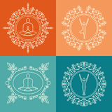 Vector illustration. Set of monograms with floral ornament for yoga studio, class, yoga retreat. Identity design in linear style. Royalty Free Stock Photography