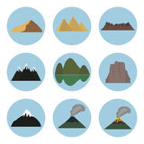 Vector illustration set of mountain icons Royalty Free Stock Image