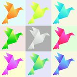 Set of vector color paper pigeons vector illustration