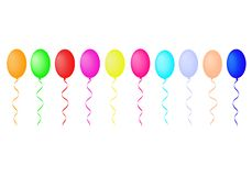 Vector drawing with bright balloons on white background royalty free illustration