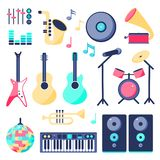 Set of music instruments in flat style royalty free illustration