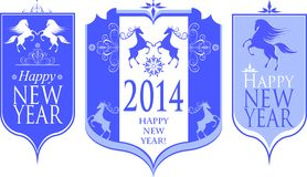 Vector illustration set of New Year's framework. With a horse Royalty Free Stock Photos