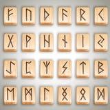 Scandinavian wooden runes royalty free stock photos
