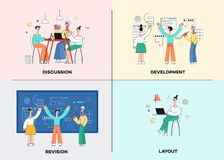 Free Vector Illustration Set Of Business Development Scenes In Trendy Flat Style With Team Working On Common Project. Royalty Free Stock Photo - 130041335