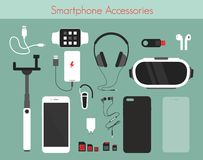 Free Vector Illustration Set Of Different Phone Accessories On Green Background. Smartphone With Power Bank, Charger And Royalty Free Stock Photo - 127197035