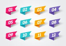 Free Vector Illustration Set Of Modern Flag Style Bullet Points. Retro Color Numbers 1 To 12. Royalty Free Stock Image - 172873216