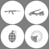 Vector Illustration Set Office Army Icons. Elements of AK47, Missile truck, Hand Grenade and Radar Icon icon. On white background Royalty Free Stock Photos