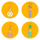 Vector illustration set orange icons flask with liquids, line ar Stock Images