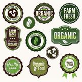 Set of organic and farm fresh food badges and labe Royalty Free Stock Images