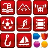 Set of outdoor icons on square buttons. Geometric style. stock illustration