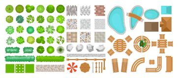 Vector illustration set of park elements for landscape design. Top view of trees, outdoor furniture, plants and