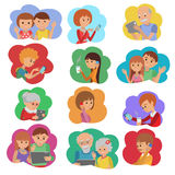 Vector illustration set of people social media communication in cloud service. Flat style vector illustration set of people social media communication in cloud Stock Image