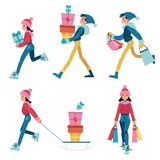 Vector illustration set of people in winter clothes purchasing products and gifts. royalty free illustration
