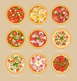 Vector illustration set of pizza with different ingredients, vegetarian pizza, margarita and seafood. Pizza menu concept. In flat style vector illustration
