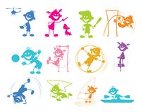 Playing cartoon children. Vector illustration of set of playing cartoon children Royalty Free Stock Images