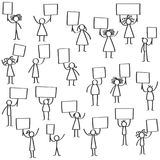 Vector illustration set of protesting black stick figures, holding up blank signs. Isolated on white background Stock Photo