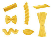 Vector illustration set of realistic icons of dry macaroni, pasta of various kinds Royalty Free Stock Image