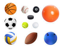 Vector illustration Set Of Realistic Sport Balls.  On White background Stock Photography