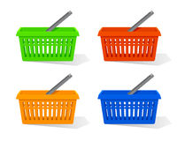 Vector illustration. Set of red, blue, orange and green empty plastic shopping basket with handle. Supermarket objects isolated on white background Royalty Free Stock Photos