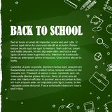 Set of school elements on green blackboard vector illustration