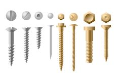 Vector illustration set of screws different types and shapes in golden and silver color on white background. Collection vector illustration