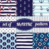 Vector illustration. Set of sea and nautical backgrounds in navy blue and white colors. Sea theme. Seamless patterns Stock Image