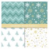 Vector illustration set of seamless Christmas patterns in blue and golden colors. Retro design, winter Christmas. Patterns for decor and background, greeting royalty free illustration
