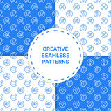 Vector illustration of set seamless pattern with blue icons in flat line style. stock illustration