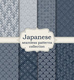 Vector illustration set of seamless patterns Japanese