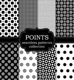 Vector illustration set of seamless patterns points Stock Image