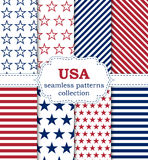 Vector illustration of a set of seamless patterns USA.  Royalty Free Stock Image