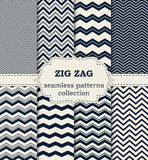 Vector illustration of a set of seamless patterns zig zag Stock Photography